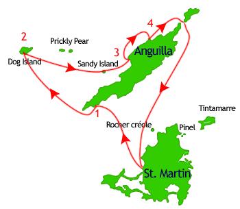 visite d'Anguilla en bateau - Cap Juluca, Dog island, sandy island, Shoal bay