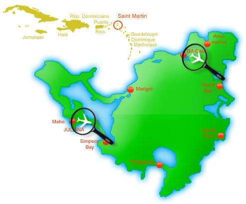 carte des aéroports de Saint Martin